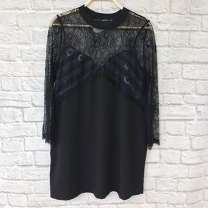 NWT Zara black lace striped long sleeve dress